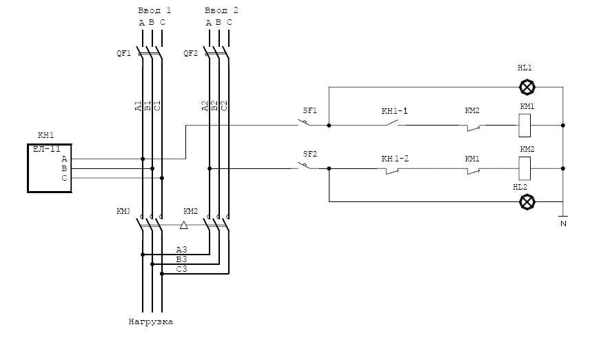 Реле контроля напряжения и сдвига фаз рнсф-12.
