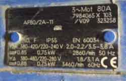 Параметры электродвигателя