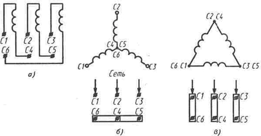 Схемы соединения обмоток асинхронного электродвигателя