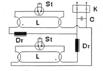 Схема светильника с люминесцентными лампами