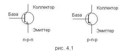 Схемы n-p-n и p-n-p транзисторов